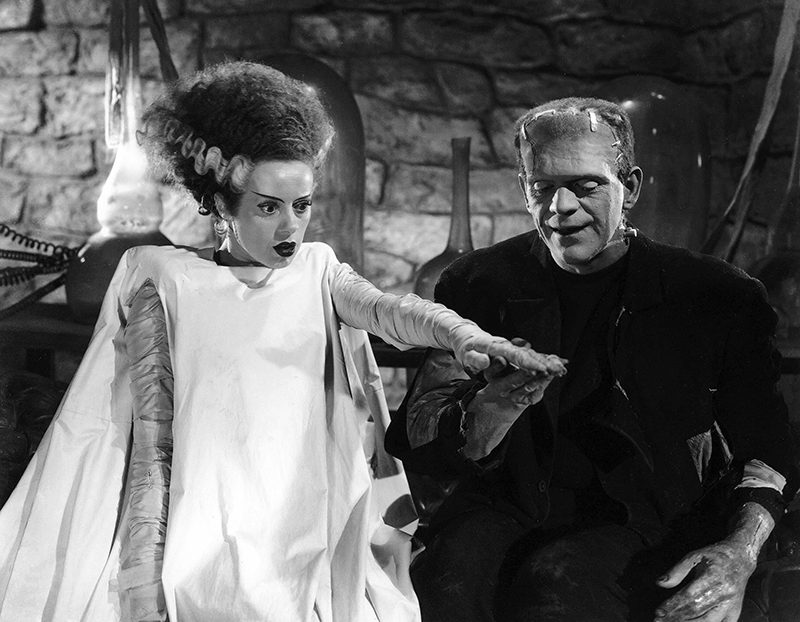 Elsa Lanchester and Boris Karloff in Bride of Frankenstein (1935)